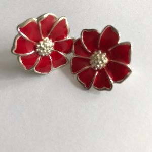 Vintage Red Enamel Flower Clip On Earrings